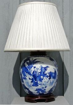 canton blue and white ginger jar lamp with chinoiserie decoration - Ginger Jar Lamps