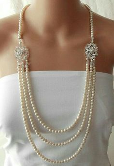 Great Gatsby Wedding Necklace Pearl Bridal Necklace Flapper Roaring Statement Necklace Downtown Abbey Bridal Jewelry - LEANORA - April 27 2019 at 1920s Jewelry, Pearl Jewelry, Beaded Jewelry, Vintage Jewelry, Fine Jewelry, Jewelry Necklaces, Silver Jewelry, Vintage Pearls, Statement Necklaces