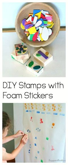 Make your own stamps using foam stickers! Such a fun art center for kids of all ages. Great for the classroom or summer fun at home or camp! ~ BuggyandBuddy.com