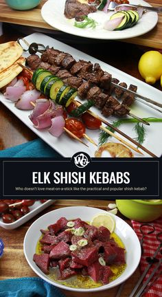 Seriously, who doesn't love meat-on-a-stick like the practical and popular shish kebab? Elk Recipes, Wild Game Recipes, Fish Recipes, Shish Kebab, Venison, Grubs, Naan, Cherry Tomatoes, Dinner Plates
