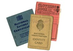 National Registration ID card, pictured with National Savings certificate and ration book