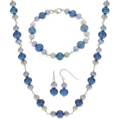 Imperial Pearls For You Sterling Silver Multi-colored Freshwater Pearl 3-piece Jewelry Set (8-9 mm) (