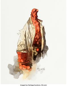 Mike Mignola Hellboy March 15 2020 at Comic Book Artists, Comic Books Art, Comic Art, Hellboy Tattoo, Mike Mignola Art, Jim Lee Art, Paper Illustration, Dope Art, American Comics