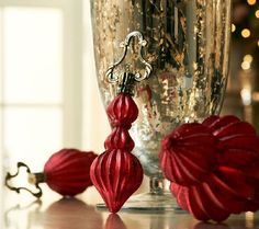 Impressive set of three ornaments have a fluted finial design.  H200713 http://qvc.co/-Shop-ValerieParrHill