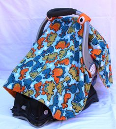 Boys Baby Car Seat Cover with Dinosaurs All Over, Baby Shower Gift, Infant Car Seat Canopies, Baby Car Seat Cover - pinned by pin4etsy.com