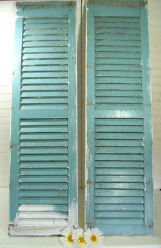 Vintage Chippy Paint Solid Wood Window Shutters OverSized Pair - Rustic Primitive Architectural Salvage Pieces - Barn Finds for Repurposing