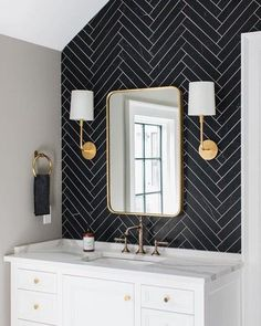 Cambria Brittanicca Quartz Bathroom Vanity with Black Subway Tiles interior Brittannicca Cambria Quartz White Bathroom, Modern Bathroom, Master Bathroom, Colorful Bathroom, Ikea Bathroom, Contemporary Bathrooms, Bathroom Cabinets, Tiled Walls In Bathroom, Cool Bathroom Ideas