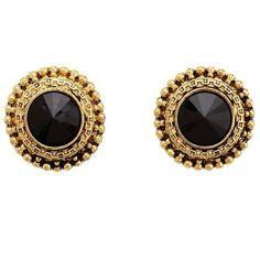 Baroque Faceted Stone Stud Earrings (33 DKK) ❤ liked on Polyvore featuring jewelry, earrings, accessories, brincos, gold, gold stud earrings, earrings jewelry, baroque earrings, yellow gold earrings and circle stud earrings