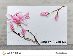Stamp set used: Magnolias for Her. Altenew, Marika Rahtu, watercolour, video, Congrats, Congratulations