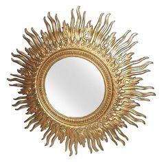 Monumental Mid-century Sunburst Mirror For Sale Sun Mirror, Mirror House, Sunburst Mirror, Black Gold Bedroom, Mid Century Modern Mirror, Beautiful Mirrors, House Beautiful, Beautiful Things, Futuristic Interior