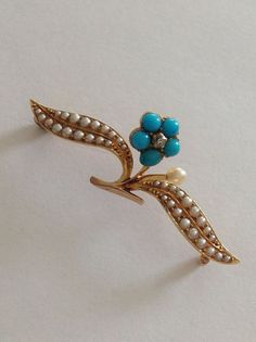 Beautiful Victorian 15ct Gold Natural Turquoise, Seed Pearl & Diamond Brooch