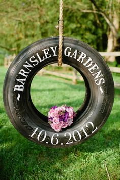 Tire swing Save the Date photo - A nod to your upcoming outdoor or country wedding. #SaveTheDate #WeddingIdeas