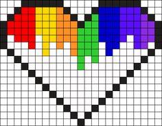 White Dripping Rainbow Heart  Perler Bead Pattern / Bead Sprite