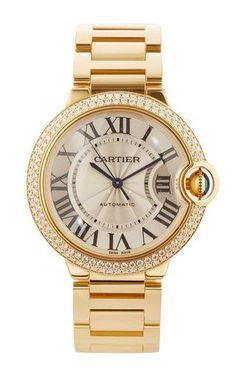 18k white gold and diamond vintage cartier ballon bleu by LSC DESIGN ESTATE JEWELRY for Preorder on Moda Operandi