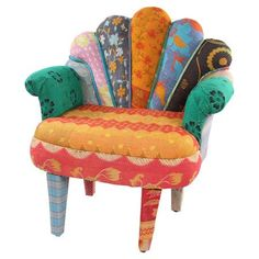 Colorful Peacock Accent Chair.