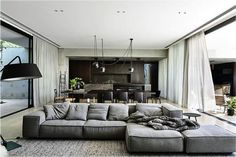 Sofa is by Living Divani - 'Extrasoft'. Designed by Workroom and built by Agushi, Kooyong House in Melbourne's Toorak is an urban oasis with architecture and interiors working together seamlessly Home Living Room, Living Room Furniture, Living Room Designs, Living Room Decor, Living Spaces, Space Furniture, Dining Room, Lounge Furniture, Dining Tables