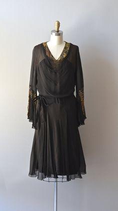 vintage 20s dress / silk chiffon 1920s dress / by DearGolden, $325.00