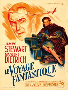 Le Voyage Fantastique. 1951 Artist: ROGER SOUBIE (1898-1984) Size: 22 7/8 x 30 5/8 in./58 x 78 cm Affiches Gaillard, Paris Featuring the inimitable Marlene Dietrich and James Stewart, this poster is for the French release of the film No Highway in the Sky. It was the first film to feature a potential airplane crash.