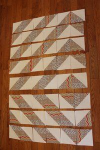 "Here is a super fun and easy tutorial using only half square triangles!    Eye of the Modern   36"" x 48""         Material:  2.5 yards of Wh..."