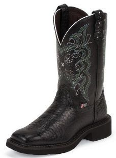 *NEW* Justin Boots Ladies Gypsy Collection Black Pearl Print With Diamond Cut Pull Straps L9993