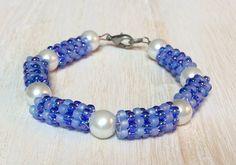 Beaded Bead Bracelet, Blue & White , Bead Woven Bracelet, Bead Work Bracelet, Seed Bead Bracelet, Beaded Bracelet, Stackable Bracelet by CreationsByLacieK on Etsy