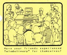 Flyer ad asking customer to demonstrate Teledeliveryt™  to their friends (1982). Telephone, Connection, Software, Friends, Amigos, Phone, Boyfriends