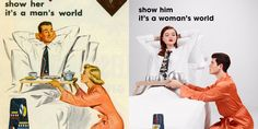 This artist recreated sexist ads from the with the gender roles reversed — and the results were shocking Vintage Advertisements, Vintage Ads, Feminist Quotes, Gender Roles, Its A Mans World, Photo Series, Woman Face, Human Rights, Art School