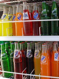 Ah... Fanta soda in glass bottles. Yum!