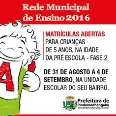 Matrículas na Rede Municipal de Ensino 2015 | Prefeitura de Pindamonhangaba