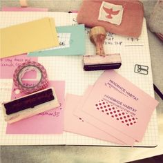 branding - stamps + washi tape = DIY business cards