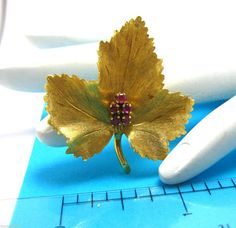 Vintage Tiffany & CO 18k Yellow Gold Maple Leaf by TheRadGallery