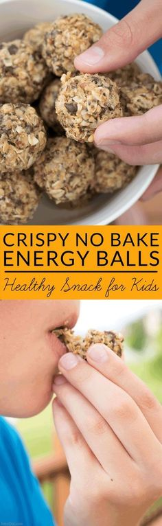 Crispy energy balls are a kid pleasing snack that is low in sugar and calories but high in iron, fiber and protein. Try this easy, no bake recipe today. Crispy No Bake Energy Balls Recipe (protein snacks for toddlers) Weight Watcher Desserts, Baking Recipes, Snack Recipes, Healthy Recipes, Easy Kids Recipes, Fast Recipes, Healthy Desserts, Sweet Recipes, Dessert Recipes