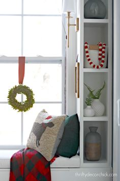 A tour of our festive kitchen and morning room at Christmas! Inexpensive holiday decorating ideas make a big difference! Seasonal Decor, Holiday Decor, Thrifty Decor Chick, Christmas Kitchen, Kitchen Shelves, Storage Solutions, Ladder Decor, Sweet Home, Christmas Decorations