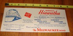Vintage Midwest Hiawatha Daytime Speedliner Train Advertising Blotter | eBay