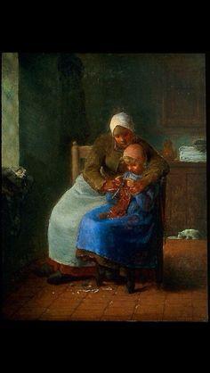 Knitting Lessons, Jean Francois Millet, sombere kleuren is kenmerkend voor dit schilderij en aandacht voor de lichtinval
