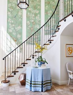 Mark D Sikes Foyer Skirted Table Pleated Octagonal Chinoiserie Wallpaper Panels Iron Staircase Color Of The Year 2017 Pantone, Gracie Wallpaper, Chinoiserie Wallpaper, Chinoiserie Chic, Wallpaper Panels, Framed Wallpaper, Wallpaper Ideas, California, Entry Hall