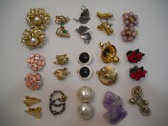 Estate Vintage Lot Of 15 Clip On And Pierced Earrings, Lisner, Marvella, Monet by SeaPillowTreasures on Etsy