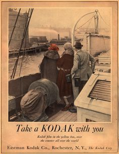 There's no doubt that Eastman Kodak will forever be remembered as a photography pioneer, but its legacy certainly involves more than that. Vintage Kodak Camera, Retro Camera, Vintage Cameras, Vintage Photos, Photographic Film, Kodak Film, Vintage Boats, Old Cameras, Kodak Moment