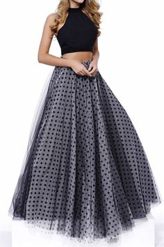 Black/Grey Polka Dot Two Piece Long Dress