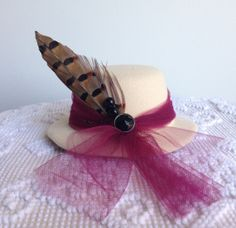 Royal Tea Hats - afternoon tea, cocktail party, little girls tea party, or any occasion - the handmade fascinator top hat clips to hair
