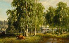 Ferdinand von Wright (1822-1906) Kesämaisema / Summer landscape1877 - Finland - Finnish cows