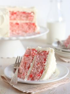 Cherry Chip Cake with Whipped Vanilla Buttercream from completelydelicious.com