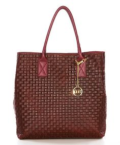 Look what I found on #zulily! Bordeaux Woven Square Leather Tote #zulilyfinds
