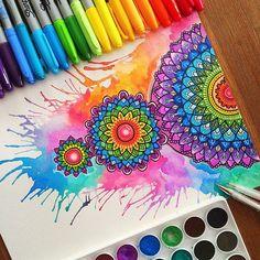 Likes, 50 Comments - Simran Savadia Mandala Doodle, Mandala Drawing, Doodle Art, Mandala Artwork, Mandala Painting, Watercolor Mandala, Dibujos Zentangle Art, Dream Catcher Art, Dot Art Painting