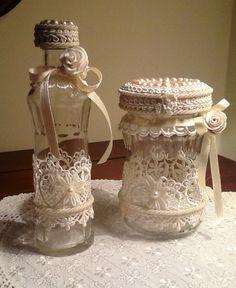 Bottiglietta shabby con sali da bagno bottigliette e - Barattoli decorati shabby ...