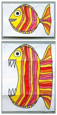 http://craftwhack.com/surprise-ferocious-beings-paper-project/: Kunst, malen, basteln, Fisch, von klein auf groß, toller Effekt, ganz leicht durch Falten, alle Klassen