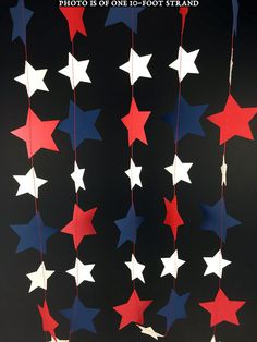 Red, White and Blue Star Garland: Patriotic Garland, Fourth of July Garland, Red White Blue Garland, Red White Blue Decor - Fourth Of July Crafts For Kids, 4th Of July Party, July 4th, Memorial Day Foods, Star Garland, 4th Of July Decorations, Blue Party, Red White Blue, Navy Blue