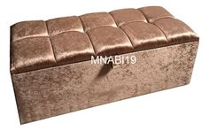 36INCH GOLD CRUSHED VELVET OTTOMAN STORAGE BOX TOY BEDROOM FOOT STOOL 4 DIAMOND