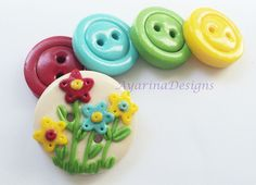 Polymer Clay Buttons for Sale   Spring flowers - polymer clay handmade buttons