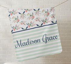 Custom Printed Blanket Floral Blooms with Stripes by GRACEandCRUZ